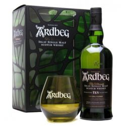Ardbeg - Scotch Whisky Islay Single Malt Guaranteed Ten Years Old Special Pack+ 1 Bicchiere Ml. 700 Divine Golosità Toscane